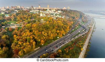 Flight over the embankment of the city of Kiev, Ukraine.