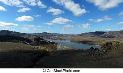 Flight over the Mountain Road Republic Buryatia
