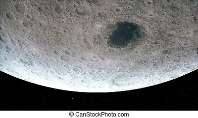 Flight over the surface of the Moon 3D rendering - Flight...