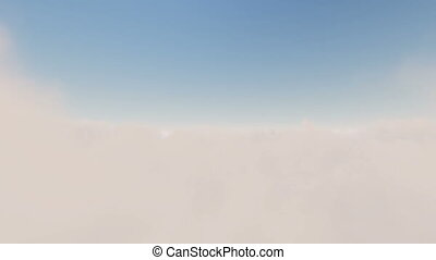 Flight over white clouds