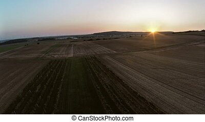 Flight over winery aerial footage