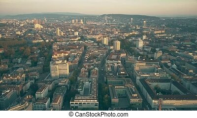 Aerial view of Zurich cityscape