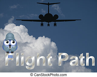 Flight path text with comical bird aviator against a cloudy...
