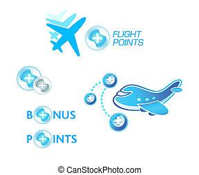 Flight points - Flight bonus points symbol concepts isolated