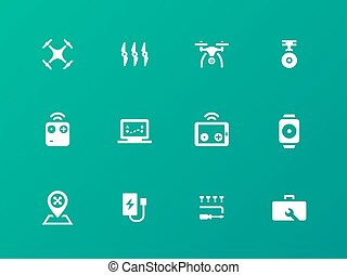 Flight quadrocopter set icons on green background.