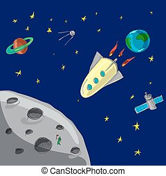 Flight rocket from  Earth to moon