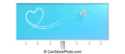 Flight route of the aircraft in the shape of a heart. Billboard with smoky line trace of airliner. Realistic icon of airplane on blue background. Vector template for touristic and travel agency.