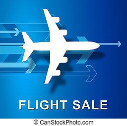 Flight Sale Represents Low Cost Flights 3d Illustration