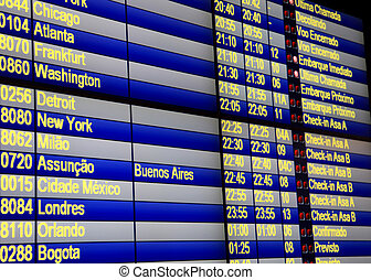 Flight schedule - Close up shot of flight schedules