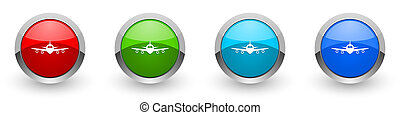 Flight silver metallic glossy icons, plane, aircraf concept set of modern design buttons for web, internet and mobile applications in four colors options isolated on white background