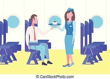 Flight stewardess serving drinks to businessman airplane passenger sitting comfortable seat during business trip modern plane board interior full length horizontal