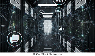 Flight Through Abstract Digital Network Tunnel with Flowing...