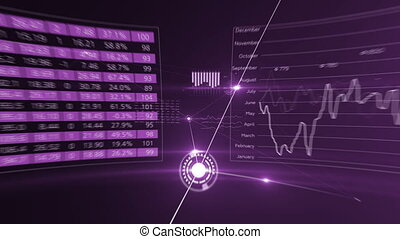 Flight Through Abstract Global Growing Business Network and Data Connections. Purple Looped 3d Animation with Lines, Dots and Running Flares. Business and Technology Concept. 4K Ultra HD 3840x2160.