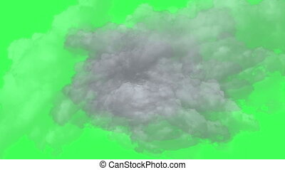 flight through clouds on green screen