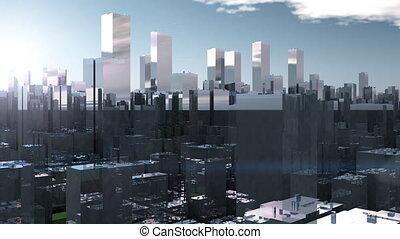 Flight through smoke city