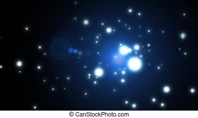 flight through space, warp speed and lens flare background