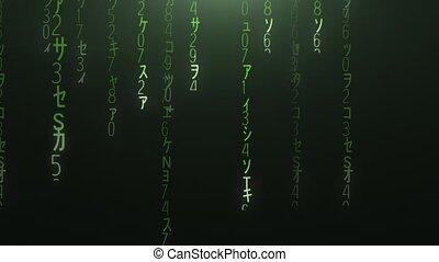 Flight through the falling green matrix code 4k