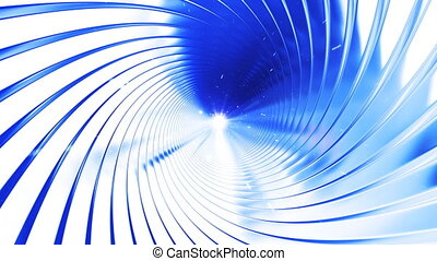 Flight through the tunnel made of metal swirl, loop, HD