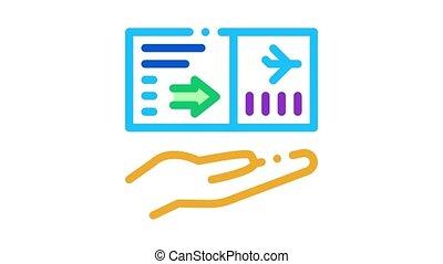flight ticket Icon Animation. color flight ticket animated icon on white background
