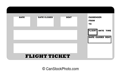 Flight ticket - Illustration of blank flight ticket,...