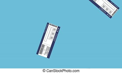 Flight tickets falling HD animation - Flight tickets falling...
