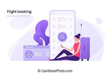 Flight tickets online booking concept. Vector illustration...