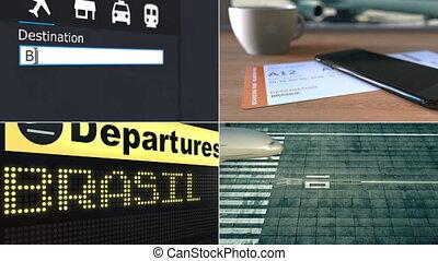Flight to Brasilia. Traveling to Brazil conceptual montage...