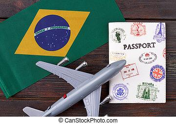 Flight to Brazil concept.
