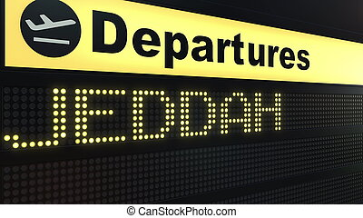 Flight to Jeddah on international airport departures board. Travelling to Saudi Arabia conceptual 3D rendering