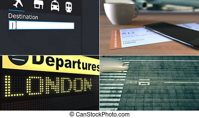 Flight to London. Traveling to the United Kingdom conceptual montage animation