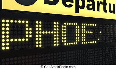 Flight to Phoenix on international airport departures board...