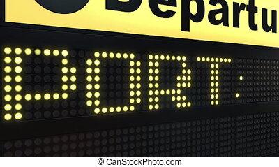 Flight to Porto on international airport departures board...