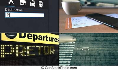 Flight to Pretoria. Traveling to South Africa conceptual...