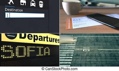 Flight to Sofia. Traveling to Bulgaria conceptual montage ...
