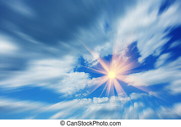Flight to the sun in the beautiful blue sky