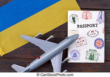 Flight to Ukraine concept.