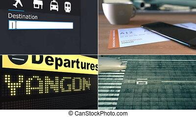 Flight to Yangon. Traveling to Myanmar conceptual montage...