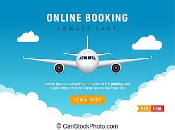 Flight travel trip banner for online booking. Vector Airplane ticket online sale design promo template