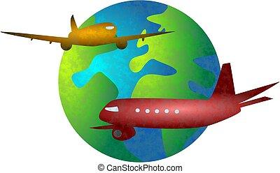 flight world - flying travel concept globe