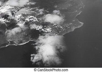 flight., wysokość, samolot, coast., (russia), wschód, ptak, kamczatka, prospekt