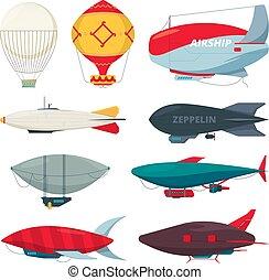 Flight zeppelin. Airship balloon freedom concept collection ...