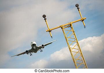 flightpath - passenger jet on a flightpath to an airport