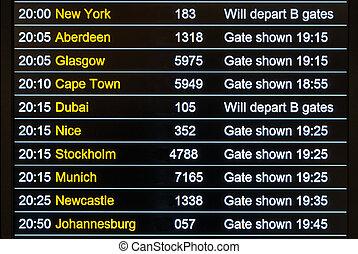 Flights departures board