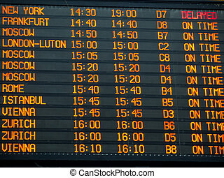Flights information board in an international  airport terminal