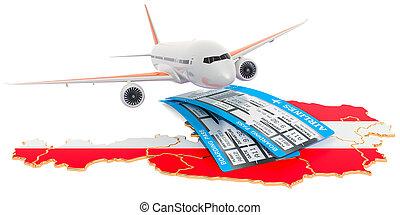 Flights to Austria concept. 3D rendering