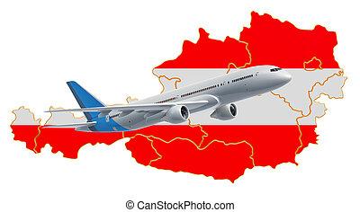 Flights to Austria, travel concept. 3D rendering