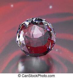 flikkerend, bol, diamant, back, rood