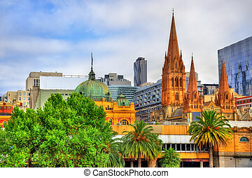 Flinders Street Station and St Paul's Cathedral in Melbourne
