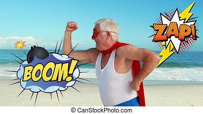flinguer, personne agee, boom, texte, parole, plage, superhero, bulle, déguisement, contre