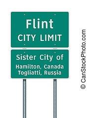 Flint City Limit road sign